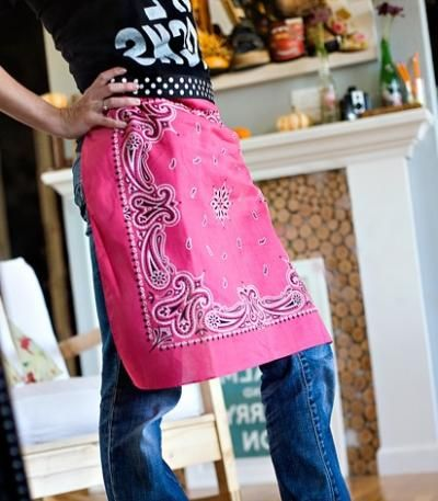 """No-Sew Bandana Apron""  --I love using a bandana for this, but also, the suggestion in the comments of using a T-shirt is a great idea. Also-also, you could add half of a bandana to the top, etc, to make it a full apron!  @Cait Sanford"