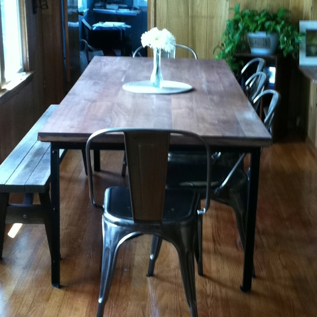 West Elm Industrial Dining Table Industry Gunmetal Chairs Garage Sale Bench