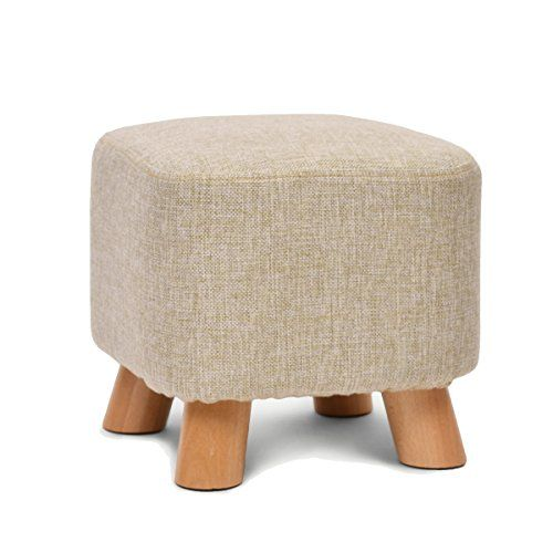 UUSSHOP Square Wooden Wood Support Upholstered Footstool Ottoman Pouffe Chair Stool Fabric Cover 4 Legs and Removable Linen Cover (Beige)---22.99---