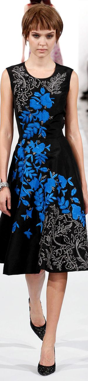 Oscar de la Renta RTW Fall 2014 | black dress | floral applique and embellishment | high fashion