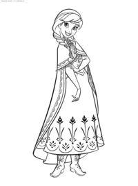 Принцесса Анна - скачать и распечатать раскраску. Раскраска Раскраски Холодное сердце, раскраски холодное сердце распечатать, раскраски Дисней