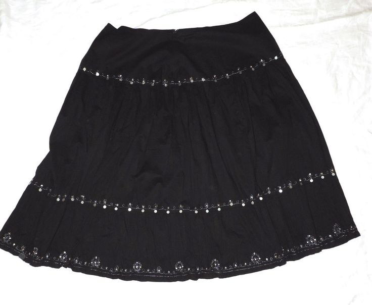 Fashion Bug Plus 26W Black Broomstick Skirt Silver Paillettes Gypsy Cosplay #FashionBug #PeasantBoho