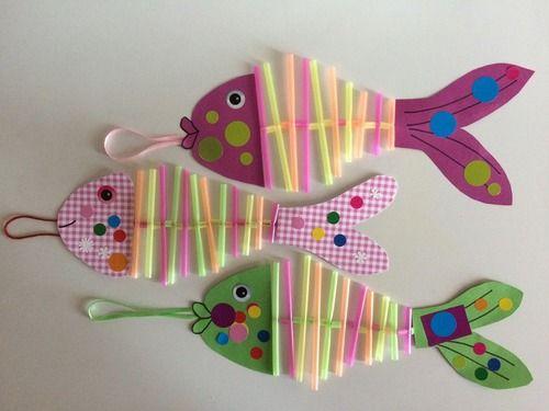 1ier avril : les poissons contorsionnistes, #knutselen, kinderen, basisschool, papier, rietjes, vis, zee