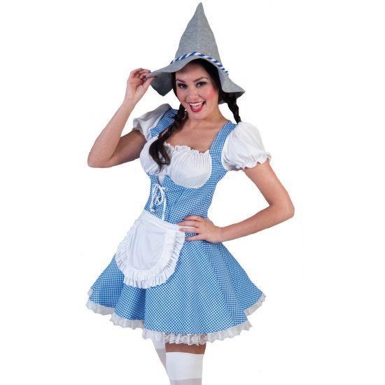 Beiren jurk voor dames. Leuke Beieren jurk met blauw geruit design. Dit sexy jurkje is van boven laag uitgesneden en heeft op de rok zelf een wit schort. De jurk wordt geleverd zonder accessoires. In verschillende maten verkrijgbaar.