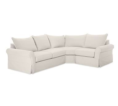 Pb Comfort Roll Arm Left 3 Piece Wedge Sectional Slipcover Knife Edge