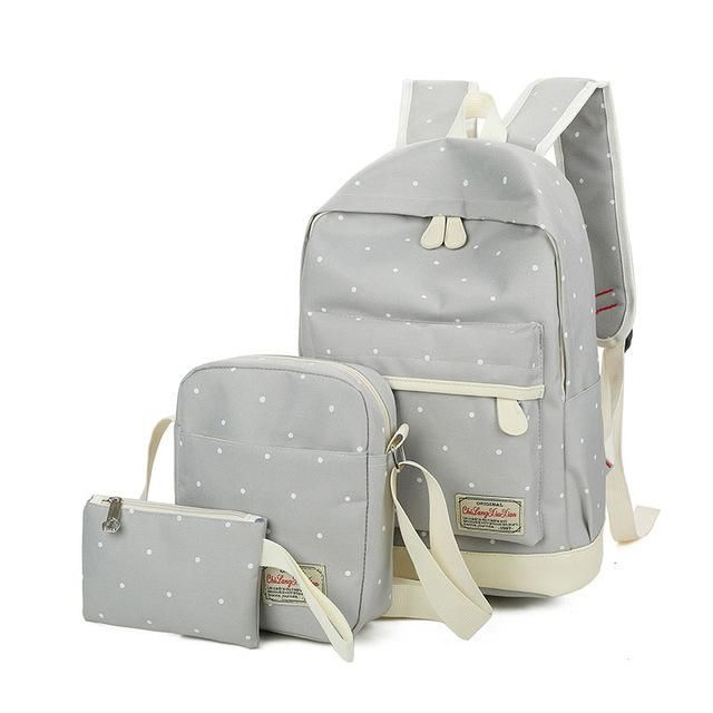 AOYI 3 Pcs School Backpack Set Teenage Grils Canvas College Book Bags Large Capacity Travel