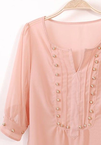 Pink Rivet Irregular V-neck Half Sleeve Chiffon Blouse