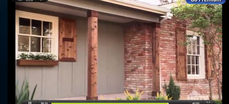Brick Cedar Shutters And Columns Gray Siding White Trim