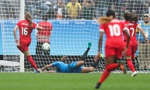 No 16 Janine Beckie scores Canada's first goal at Arena Corinthians in Sao Paulo.