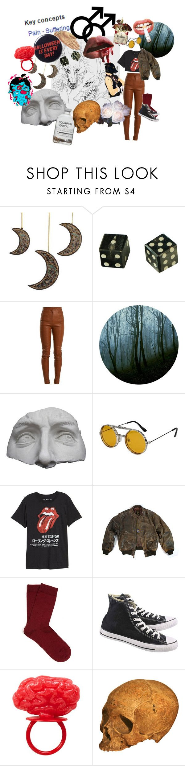"""the boy in love with monsters"" by the-boy-blunder on Polyvore featuring NOVICA, Ødd., Balmain, Romanelli, Spitfire, Public Opinion, Falke and Converse"