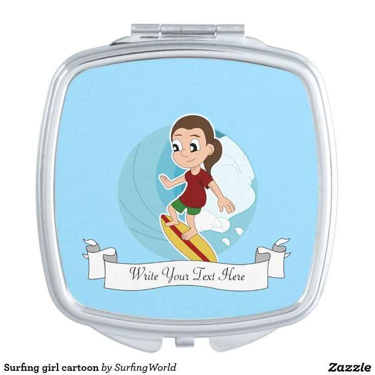 Surfing girl cartoon compact mirror