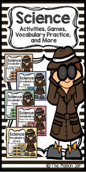 Science Vocabulary Bundle:Bundle Includes the Following Topics:Living ThingsMatterSpaceEnergy, Force, and MotionEcosystemEarth and WeatherPlantsEach Topic Includes:- Vocabulary page with words and definitions- Vocabulary assessment with answer key- Game board with vocabulary definitions as the game cards- Matching activity with vocabulary words and definitionsStudents will be able to learn their science vocabulary in a fun and exciting way using the game board, matching activity, and…