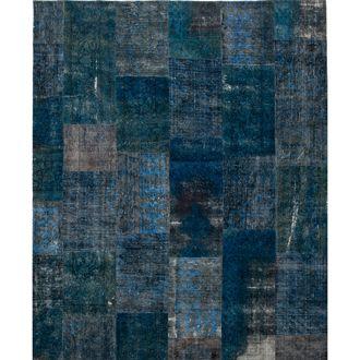 Recoloured Blauw Patchwork vintage tapijt   MARCJANSSEN