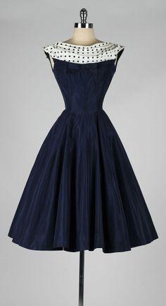 vintage 1950s dress . navy blue . polka dot by millstreetvintage
