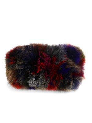 SURELL Multicolor Fox Fur Headband. #surell #headband