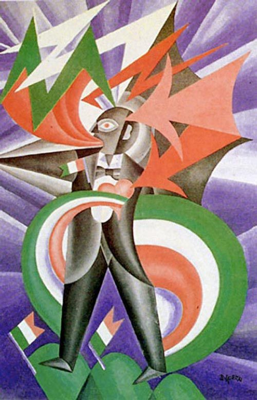 """Patriotic Storm (1924) by Fortunato Depero - Italian Futurism - Viewed as part of the exhibition """"Italian Futurism, 1909–1944: Reconstructing the Universe at the Guggenheim Museum, NYC, NY 3/1/14   - the colors were slightly brighter in person"""