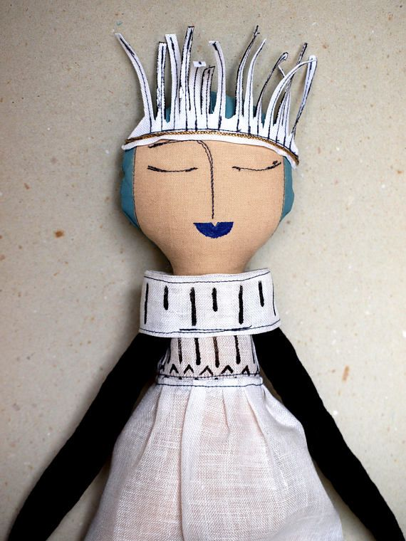Modern rag doll Painted cloth doll with blue lips & hair Cloth doll Handmade rag doll Plush with linen dress Textile doll for room decor