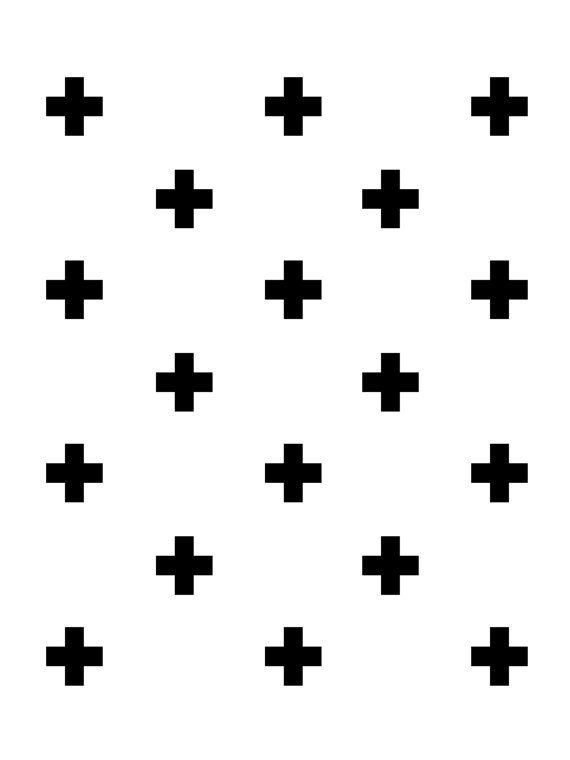 Swiss Cross Wall Art Black and White van MelindaWoodDesigns op Etsy