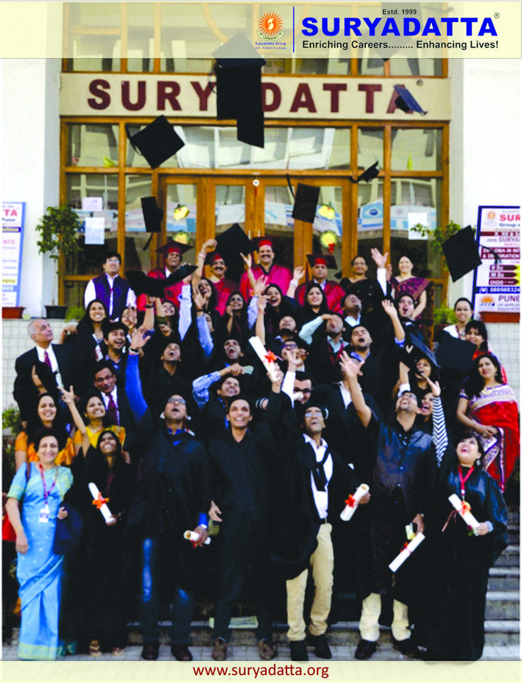 PGDM Students rejoicing the completion of their journey of college bound academic studies by throwing them convocation caps in the air. (Last row from L to R Mr. Akshit Kushal (Manager Organization Development) Prof. N C Sethia : Registrar, Dr. S.B. Chordiya : Dean Academics of Suryadatta Group of Institutes, Rotary Governor Dr. Deepak Shikarpur : Renowned IT Technopreneur, . Mr. Anup Kumar Jain (Head Car Plant : Tata Motors) Mrs. A K Jain & Mrs. Sushama Chordiya.
