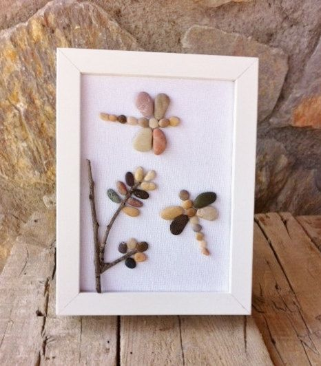 Dragonflies: Beach Pebble Picture in White Frame/Wall Art/Stone Art, Pebble Art, Gift Idea, Christmas Present