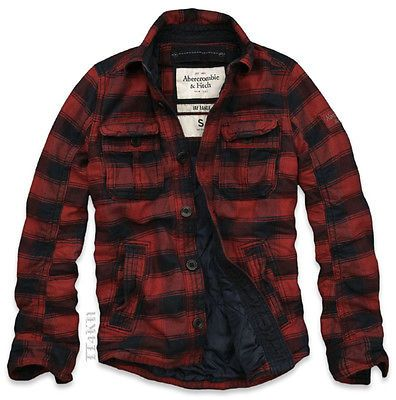 Abercrombie & Fitch AF Mens Classic Red Plaid Lined Jacket Coat NWT