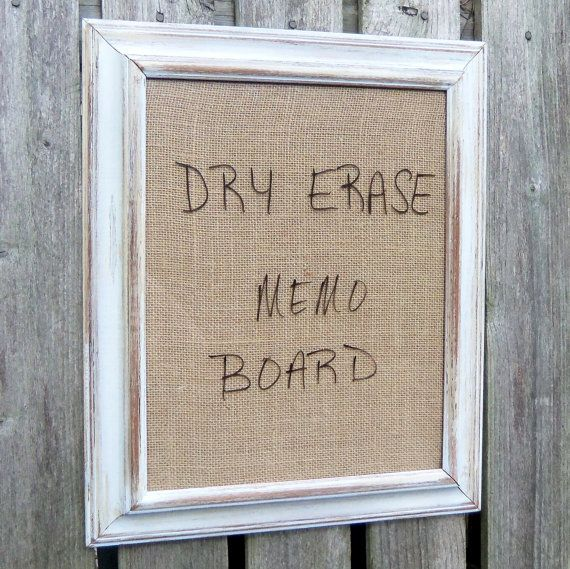 Framed Dry Erase Board Message Burlap Distressed by BeeHavenHome