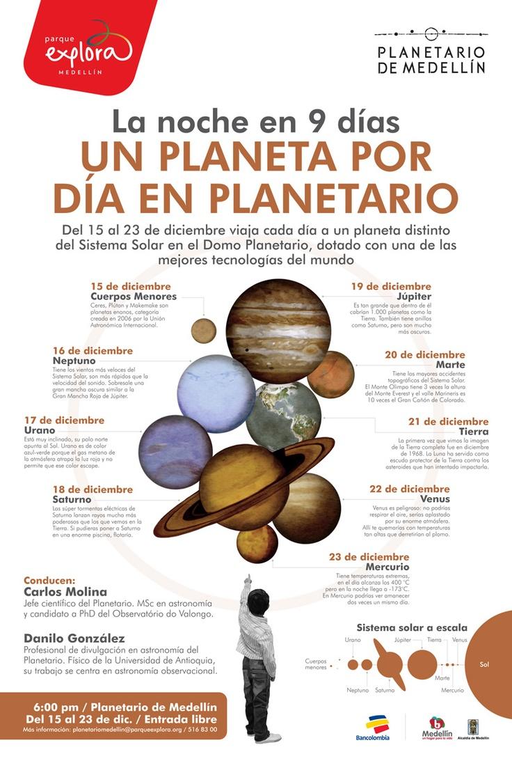 【  LA NOCHE EN 9 DÍAS  】  Un planeta por día en el Planetario / Planetario de Medellín. Ilustración: María Luisa Isaza.