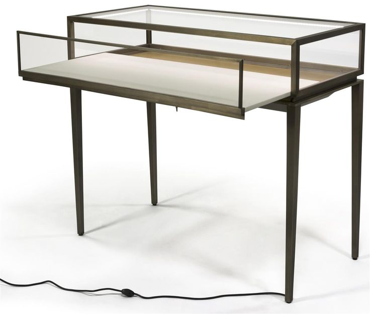 Brushed Steel Jewelry Display Case w/ Rear Slide Open Drawer, LED Lights - Bronze