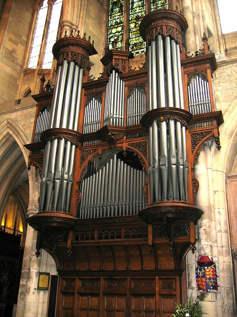 Organ  Located at the interior of Southwark Cathedral in London, built in 1897. 'The wind to the organ is supplied by electric fans in the Cathedral roof. The organ contains 61 stops and 3,248 pipes, ranging from 32 foot to the length of a pencil. It also uses 12 bellows, of an average 5 foot x 3 foot and the electric pneumatic mechanism contains 570 actions for admitting wind to the pipes.'
