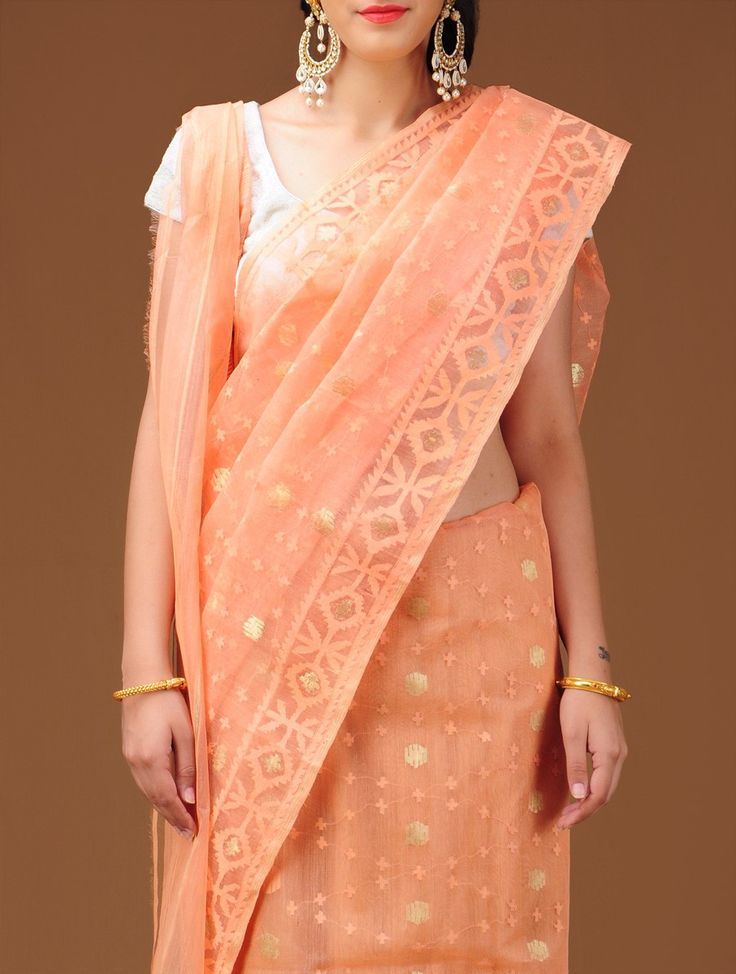 Peach Dhakai Jamdani Cotton Saree