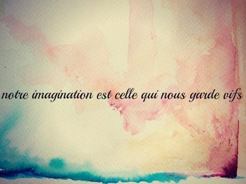 """Our imagination is that which keeps us alive."" (in french)....would be great as a tattoo"
