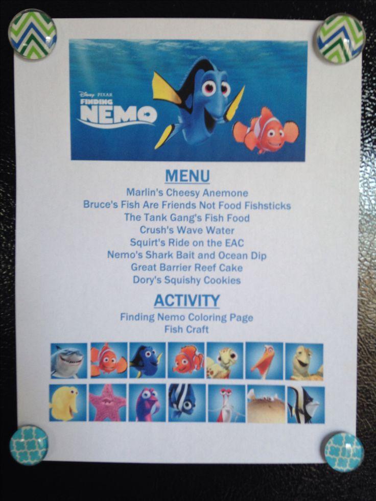 Finding Nemo Movie Night Menu Annette@wishesfamilytravel.com