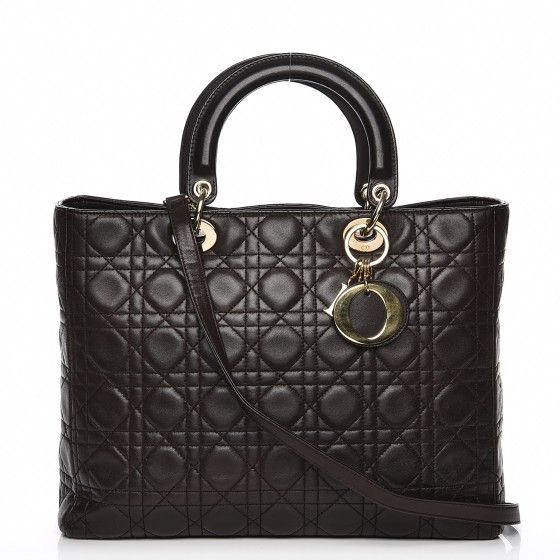 5e47380b58f1 This is an authentic CHRISTIAN DIOR Vintage Lambskin Cannage Large Lady Dior  in Dark Brown.