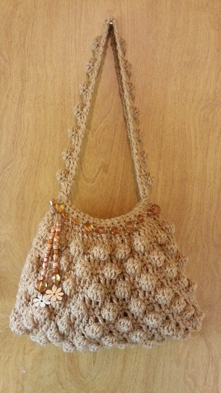 #Crochet Bobble Stitch Handbag Purse #TUTORIAL