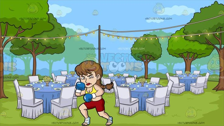 A Woman Getting Ready For Kickboxing At An Outdoor Wedding Reception:   A woman with braided brown hair wearing a yellow midrib top dark red shorts bandaged heels and blue boxing gloves looking serious and ready to kickbox. Set in a charming wedding reception in a grassy area with trees round blue tables white chairs plates and flower centerpieces rope lights and a beautiful daytime sky.