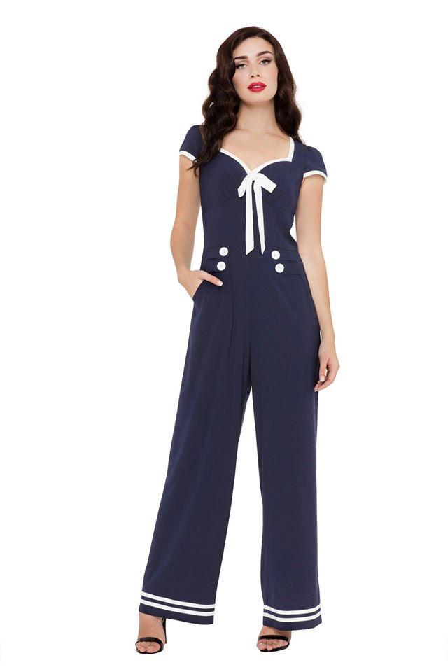 Voodoo Vixen Jolene Nautical Jumpsuit   Fashion Clicks