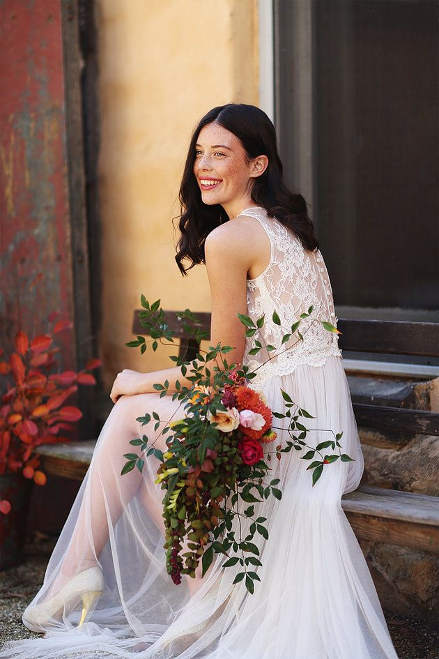 Moody Brights Autumn Bridal Inspiration   Naomi Rose Floral Design   Caitlin May Photography   Autumn bridal bouquet   Lace wedding dress