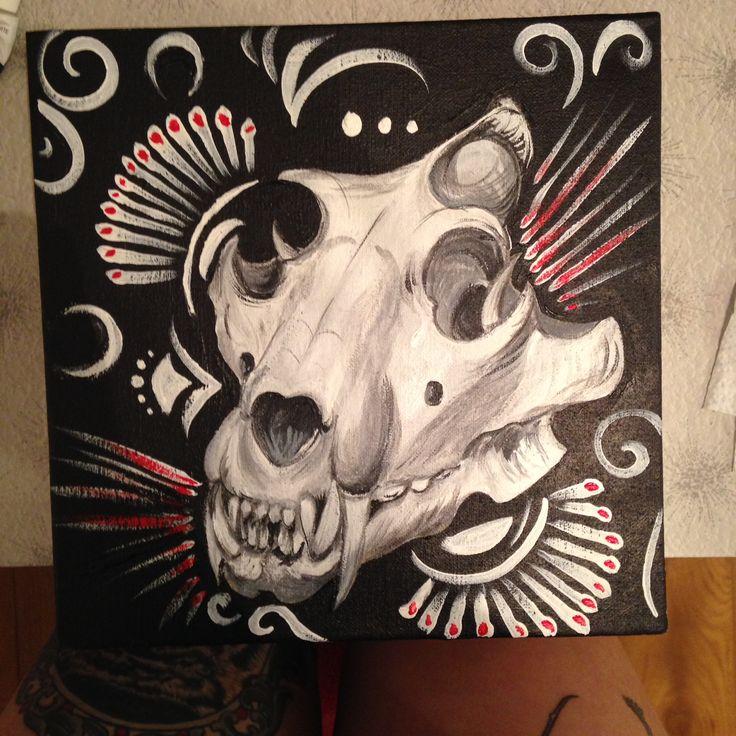 Finished Lion Skull painting Kellie Egging Feb 2015
