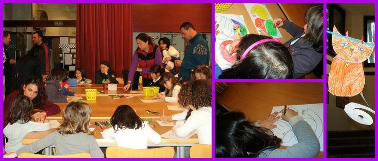 Nuestros pequeños lectores haciendo sus propios gatos garabatos. #Biblioteca Manuel Alvar (Zaragoza)