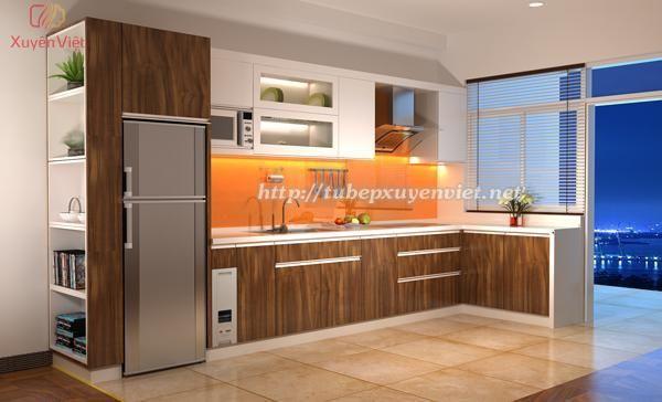 Mẫu tủ bếp laminate cao cấp hiện đại XV097