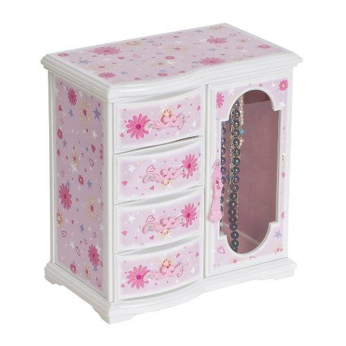 """Musical Jewelry Box - Mele & Co. Robin Girl's Glitter-Daisy Upright Musical Ballerina Jewelry Box. Decorated with pink, white, and green 'glitter-daisy' graphic.-Plays """"Swan Lake"""""""
