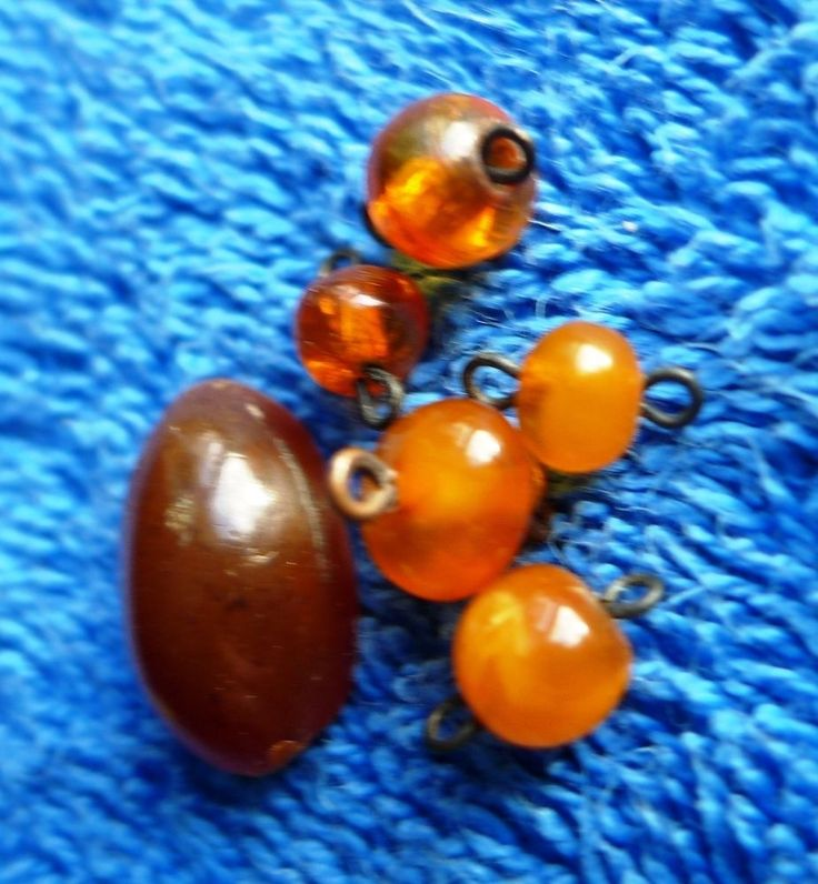 Smail beads Antique Honey Cognac Butterscotch Natural Baltic Amber 6 Stone 老琥珀