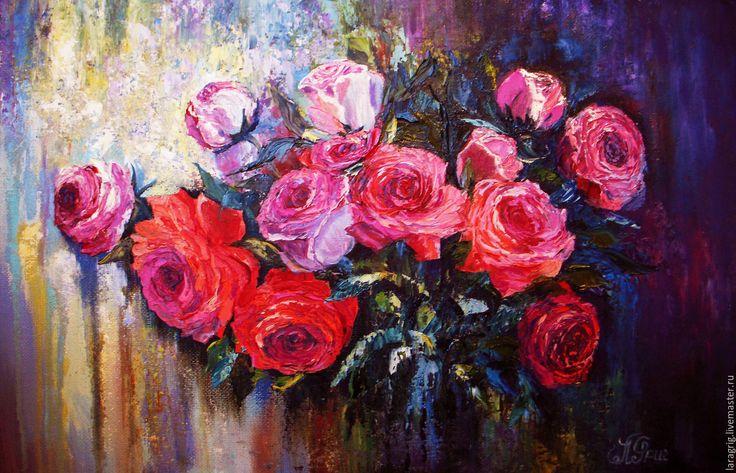 """Купить """"Розовые сны""""-художник Лариса Григ - розы, картина в подарок, картина для интерьера"""
