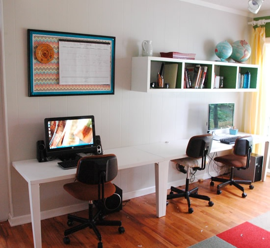 Table Cut Into Two Pieces To Make Long Computer Desk Along Wall. Bb