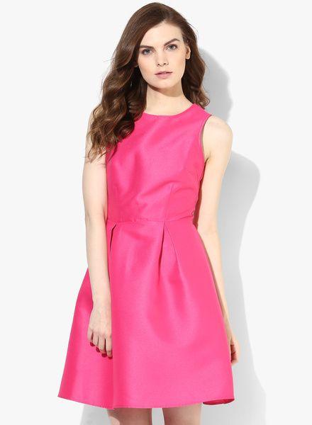 Pink Solid High Neck Prom Skater Dress
