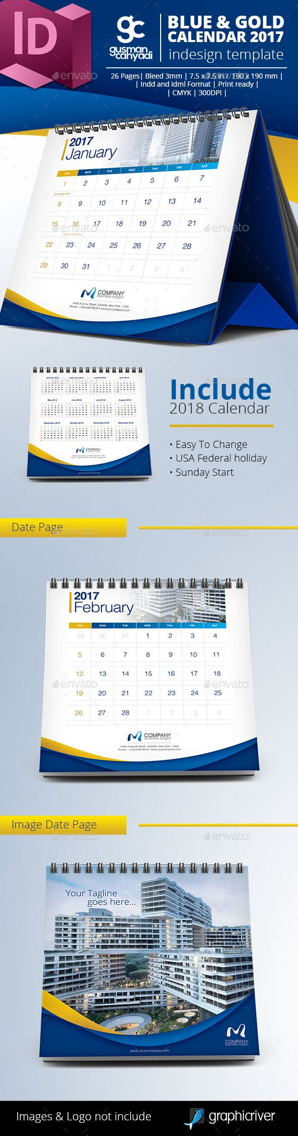 Blue & Gold 2017 Desk Calendar