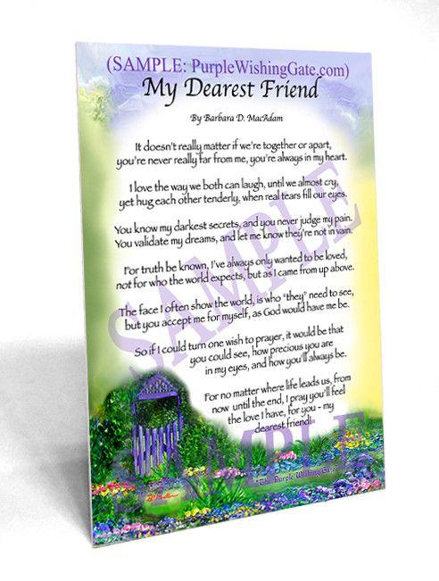 My Dearest Friend (5x7 Frame-able Gift)
