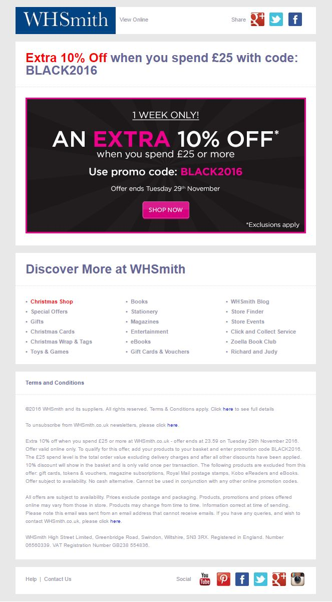 Black Friday Email from WHSmiths #EmailMarketing #Email #Marketing #Black #Friday #BlackFriday #Gifts #Retail