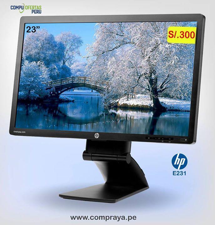 "Monitor HP E231 LED Full HD .S/.300 ============================== * HP LED Modelo: EliteDisplay E231 * Pantalla de 23"" Wide Screen 16:9 * Resolucion 1920x1080p FULL HD  * Soporte Color 16.7Mlls.  * Conexion VGA, PortDisplay y DVI * 2 Puertos USB Laterales * Pixel 0.265 * Frecuencia 50/60 Hz * Bajo Consumo Energia * Base Retractil y Giratoria 180º * AC 110 / 230 V. Autovoltaje * STOCK 700 Monitores * GARANTIA 06 Meses * Factura o Boleta Venta * Aceptamos TARJETAS DE CREDITO * www.compraya.pe…"
