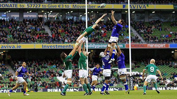Ventana de Noviembre. Irlanda y Samoa disputan un line en el Aviva Stadium de Dublin (ex Lansdowne Road), en un partido que el Trébol ganó con sufrimiento. (Getty)